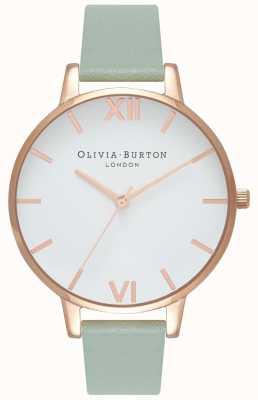 Olivia Burton |女士|大白色表盘薄荷皮带| OB16BDW27