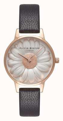 Olivia Burton |女士| 3d雏菊表盘|黑色皮革表带| OB16FS97