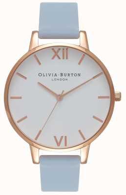 Olivia Burton |女士|大白色表盘粉笔蓝色表带| OB16BDW18