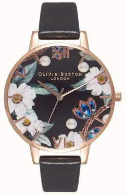 Olivia Burton |女士|宝石花饰|黑色皮革表带| OB16BF04