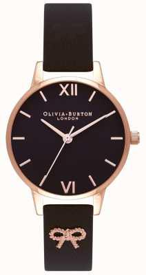 Olivia Burton |女士|黑色表盘|复古蝴蝶结黑色表带| OB16VB07