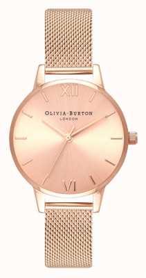 Olivia Burton  女士  midi  阳光表盘玫瑰金网手链  OB16MD84