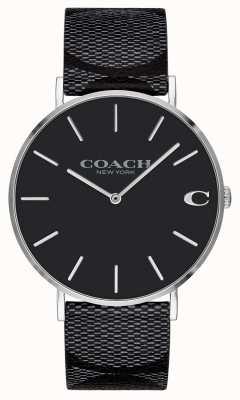 Coach |男士|签名|查尔斯|黑色皮革| 14602157
