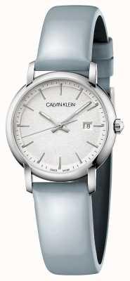 Calvin Klein |女性成立|蓝色皮革表带|银色表盘| K9H231V6