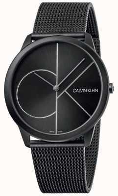 Calvin Klein 最小|黑色网状手链|黑色表盘| K3M5T451
