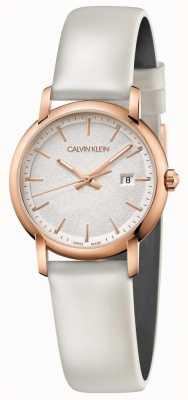 Calvin Klein |女性成立|白色皮革表带|银色表盘| K9H236L6
