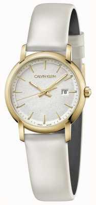 Calvin Klein |女式白色皮革表带|银色表盘| K9H235L6