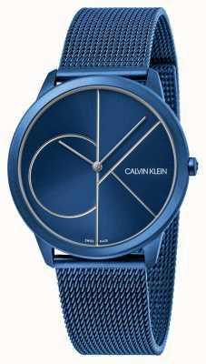 Calvin Klein 最小|蓝色网状手链|蓝色表盘| K3M51T5N