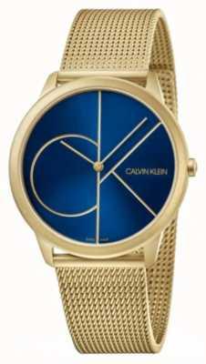 Calvin Klein 最小|金网手链|蓝色表盘| K3M5155N