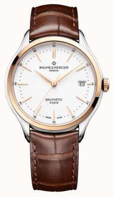 Baume & Mercier |男士克利夫顿| baumatic |棕色皮革|白色表盘| BM0A10401