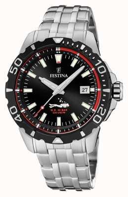 Festina |男士潜水员|不锈钢手链|黑色表盘| F20461/2