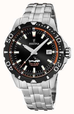 Festina |男士潜水员|不锈钢手链|黑色表盘| F20461/3