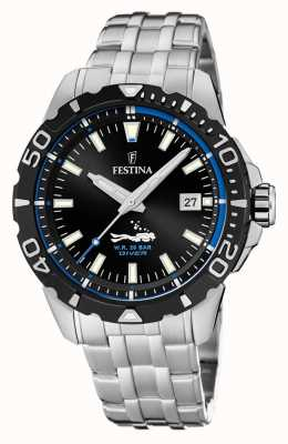 Festina |男士潜水员|不锈钢手链|黑/蓝表盘 F20461/4