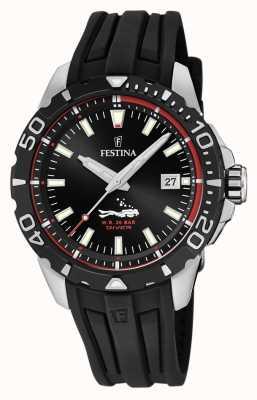 Festina |男士潜水员|黑色橡胶表带|黑色表盘| F20462/2