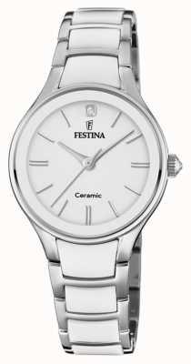 Festina |女士陶瓷|银/白手链|白色表盘| F20474/1