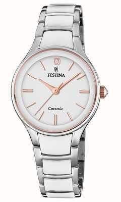 Festina |女士陶瓷|银/白手链|玫瑰金/白色 F20474/2