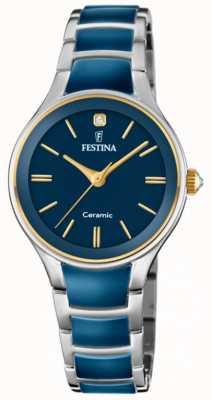 Festina |女士陶瓷|银/蓝手链|蓝色表盘| F20474/3