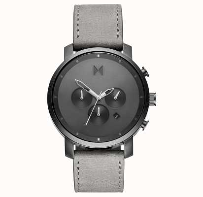 MVMT Chrono 45mm单色|灰色皮革表带|灰色表盘 D-MC01-BBLGR
