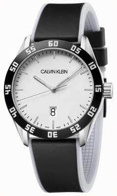 Calvin Klein |男士|竞争|黑色橡胶表带|银色表盘| K9R31CD6