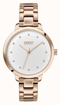 HUGO #achieve |玫瑰金ip手链|白色表盘 1540037