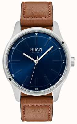 HUGO #dare |棕色皮革表带|蓝色表盘 1530029
