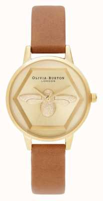 Olivia Burton | 3D蜜蜂慈善手表|蜂蜜棕褐色素食主义者表带| OB16AM167