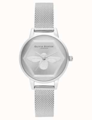 Olivia Burton | 3D蜜蜂慈善手表|银色网状手链l OB16AM168