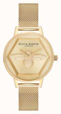 Olivia Burton | 3D蜜蜂慈善手表|黄金网状手链| OB16AM169