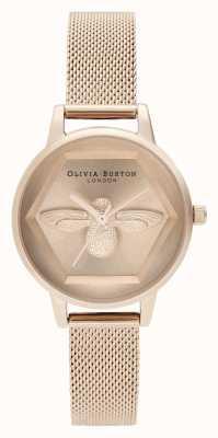 Olivia Burton | 3D蜜蜂慈善手表|玫瑰金网状手链| OB16AM170