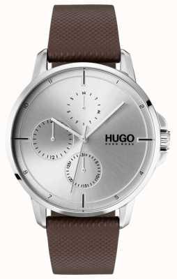 HUGO #focus |棕色皮革表带|银色表盘 1530023