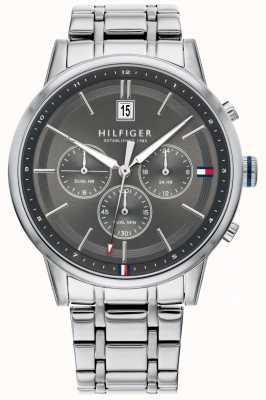 Tommy Hilfiger |男士不锈钢手链|灰色表盘计时码表| 1791632