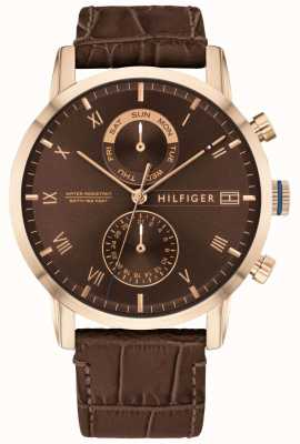 Tommy Hilfiger |男士棕色皮表带|棕色表盘| 1710400