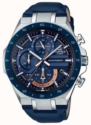 Casio |大厦计时码表|太阳能供电蓝色皮革表带| EQS-920BL-2AVUEF