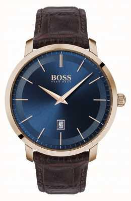 Boss |男士高级经典款|棕色皮革表带|蓝色表盘| 1513745