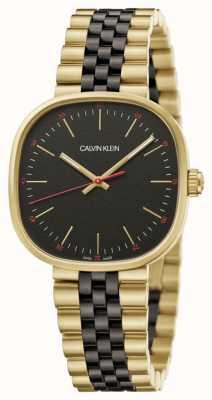 Calvin Klein |男士|直接|双色手链|黑色表盘| K9Q125Z1
