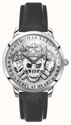 Thomas Sabo |男人的反叛精神3d头骨|黑色皮革表带| WA0355-203-201-42