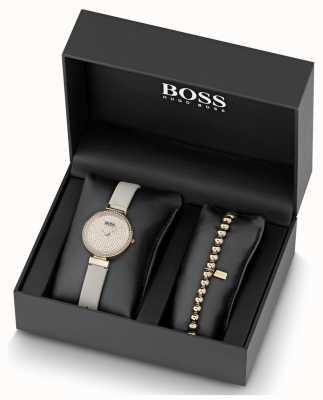 Boss 女式皮革水晶套装手表和手链套装 1570094