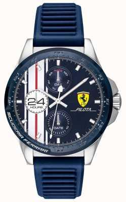 Scuderia Ferrari |男人的飞行员|蓝色橡胶表带|蓝色计时码表| 0830660