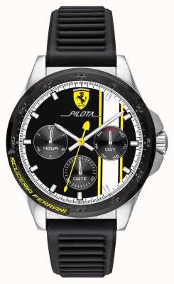 Scuderia Ferrari |男人的飞行员|黑色橡胶表带|黑色计时码表 0830659