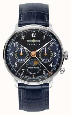 Zeppelin LZ129印度堡石英日/日期手表月相蓝色表盘 7037-3