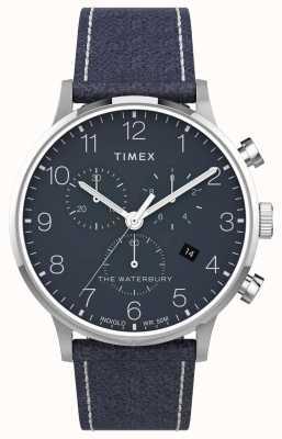 Timex |沃特伯里经典计时表40毫米|蓝色皮革|蓝色表盘| TW2T71300