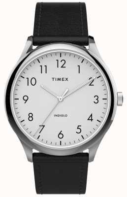 Timex |简易阅读器40mm |黑色皮革表带|白色表盘| TW2T71800