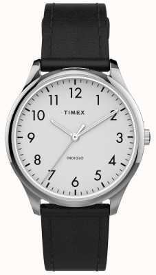 Timex |简易阅读器32mm |黑色皮革表带|白色表盘| TW2T72100