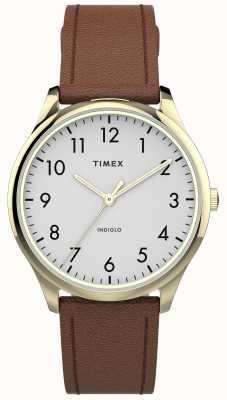 Timex |简易阅读器32mm |棕褐色皮革表带|白色表盘| TW2T72300