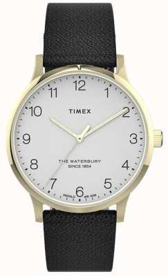 Timex |妇女沃特伯里|黑色皮革表带|白色表盘| TW2T75200