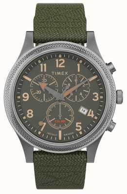 Timex |盟军lt chrono 40mm |绿色织物表带|绿色表盘| TW2T75800