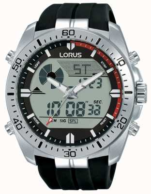 Lorus  男士二重奏展示 黑色橡胶表带  R2B07AX9
