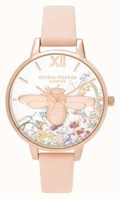 Olivia Burton |女士|魔法花园| 3d蜜蜂|桃皮表带| OB16EG151