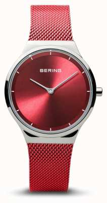 Bering |经典|女士抛光银|红色网状手链| 12131-303