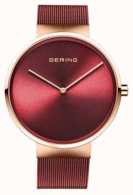 Bering |经典|抛光/拉丝玫瑰金|红色网状手链| 14539-363